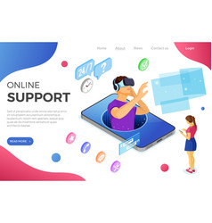 isometric online vr customer support vector image