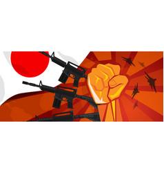 Japan retro style war propaganda hand fist vector