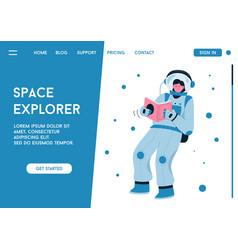 landing page space explorer concept vector image