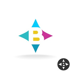 Letter B logo colorful style in a pillow shape vector image
