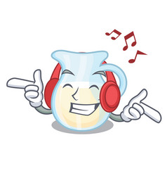 Listening music milk jug completely filled with vector
