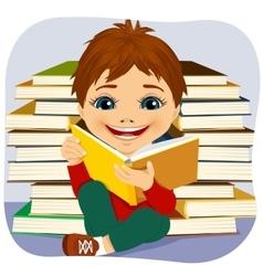 Little boy reading an interesting book vector