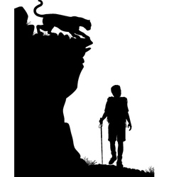 Lone hiker vector image