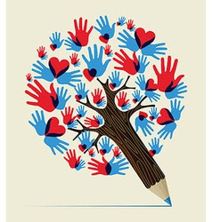 Love hands concept pencil tree vector