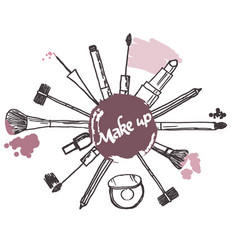 make up brush cosmetics collection art brush vector image