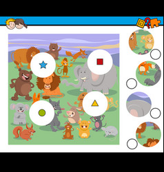 match pieces activity game with animals vector image