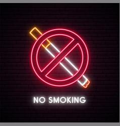 No smoking neon sign fuming cigarette with smoke vector