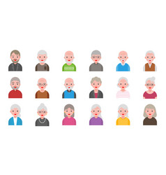 Older people isolated on white background in flat vector