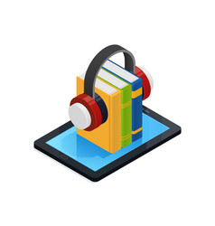 Online audio books isometric design vector