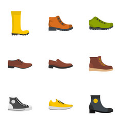 Pair of shoes icons set flat style vector