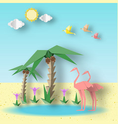 Paper origami concept with flamingo vector