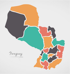 paraguay map with states and modern round shapes vector image