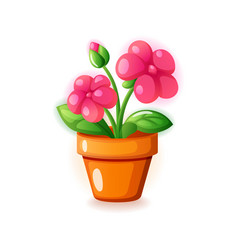 pink spring home flower in pot icon vector image
