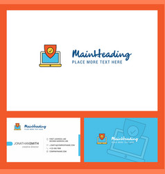 protected laptop logo design with tagline front vector image