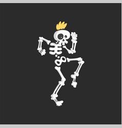 punk skeleton character dancing vector image