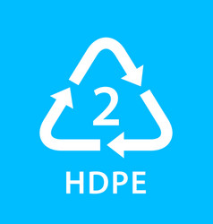 Recycle arrow triangle hdpe types 2 isolated on vector