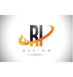 Ri r i letter logo with fire flames design vector