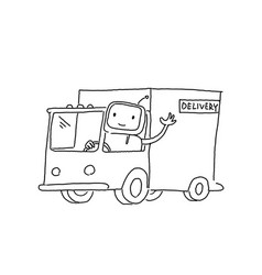 Robot on the truck goods delivery sketch vector