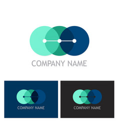 round connect colored technology logo vector image