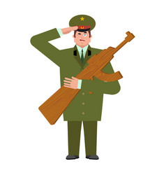 Russian soldier and wood gun toys military vector
