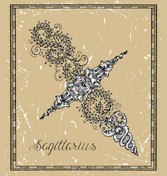 sagittarius or archer zodiac sign on frame vector image