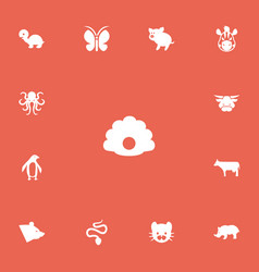Set of 13 editable zoo icons includes symbols vector