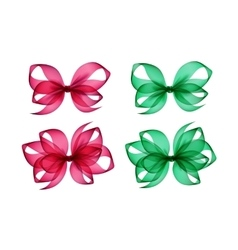 Set of Pink Green Gift Bows Different Shapes vector