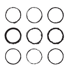 Set of round frames ink texture design vector