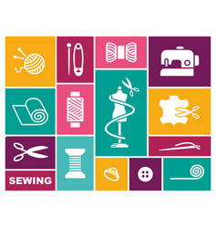 sewing and needlework icons in flat style vector image