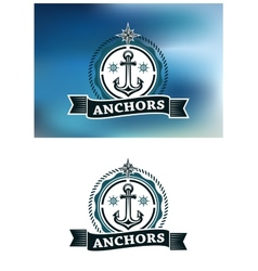 Ship anchor in round rope border vector