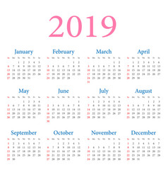 Simple annual calendar 2019 vector
