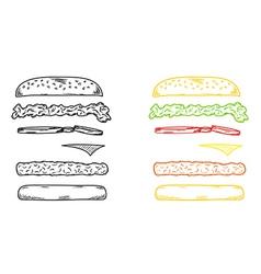 Sketch hamburger vector