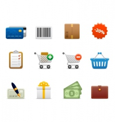 smooth series shopping icons vector image