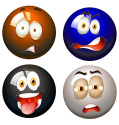 Snooker balls with facial expressions vector