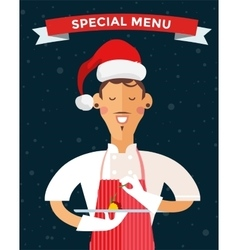 Special Christmas menu cook chef vector