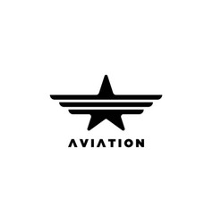 star with wings symbolaviation logo vector image
