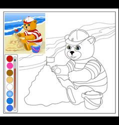 Teddy bear at the beach vector