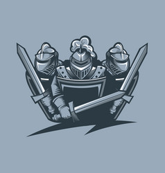 Three knights in armor protect themselves vector
