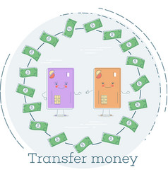 transfer money concept in line art style vector image