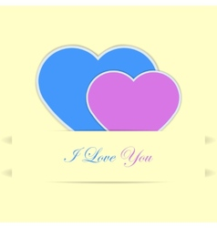 Valentine card with blue and pink hearts vector image