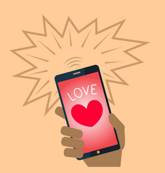 Valentine heart mobile phone vector
