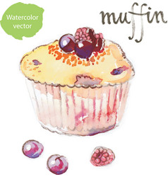 Watercolor muffin - vector