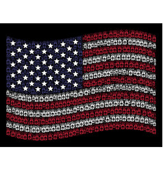 Waving american flag stylized composition of death vector