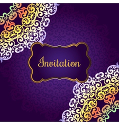 Wedding invitation delicate swirl mandala pattern vector image