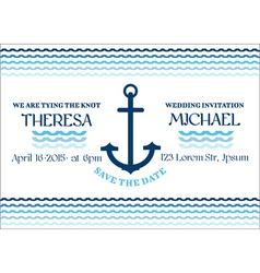 Wedding Marine Invitation Card vector image