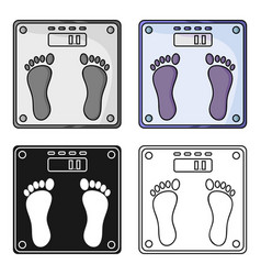 Weighing scale icon in cartoon style isolated on vector