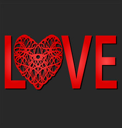 Word love with red heart st valentine day design vector