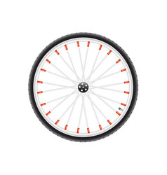 bicycle wheel in silver dark and red design vector image