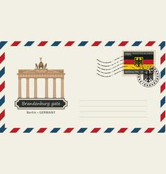 envelope with postage stamp with brandenburg gate vector image vector image