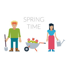 family man and woman with potted flowers and vector image